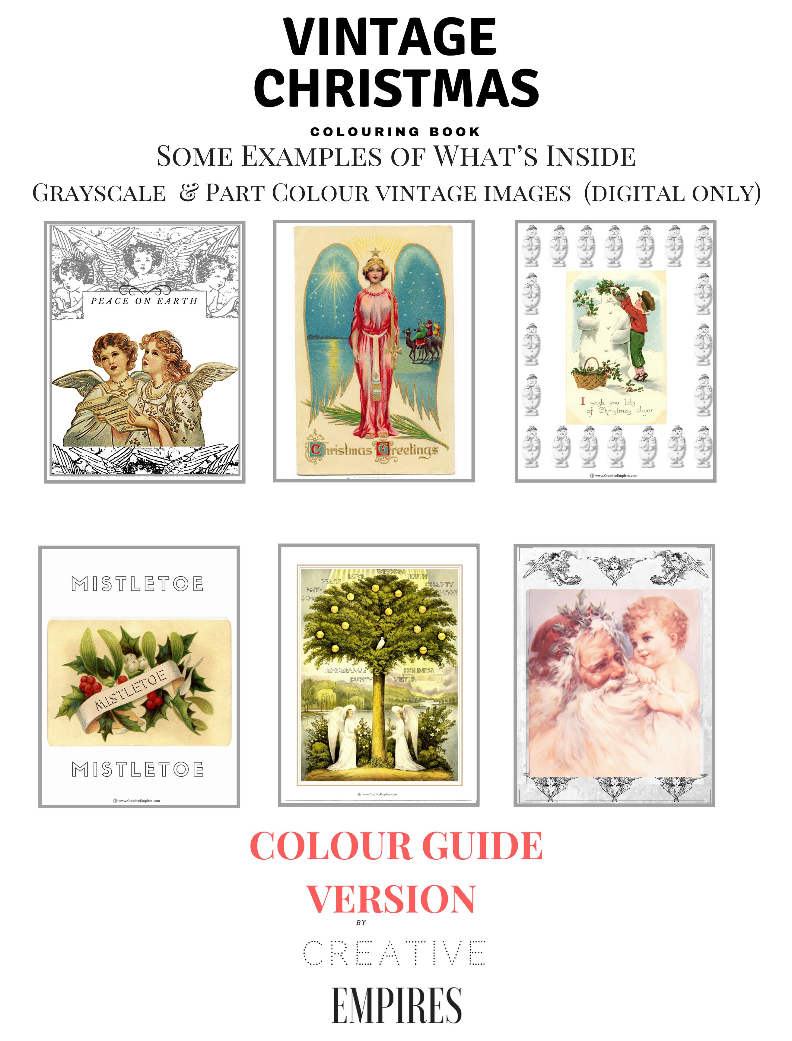 Vintage Christmas Colour Guide Example page