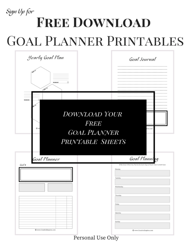 Free Goal Planner Downloads when you subscribe